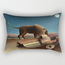 'The Sleeping Gypsy' Lion and Moon While Sleeping in the Desert by Henri Rousseau Rectangular Pillow