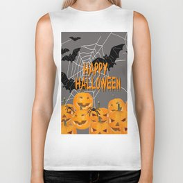 Pumpkins Happy Halloween Illustration Biker Tank