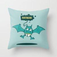 bat man Throw Pillows featuring Bat Man Bat by Drew