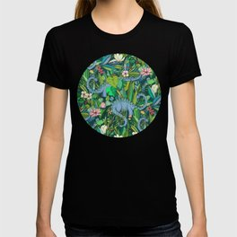 Improbable Botanical with Dinosaurs - dark green T-shirt