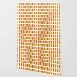 Yellow Red Colored Bubble Gum Pattern Wallpaper