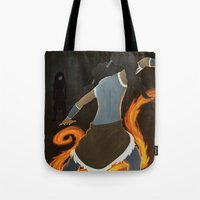 legend of korra Tote Bags featuring Korra by charcola