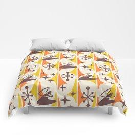 Mid Century Modern Cosmic Boomerang 726 Brown Orange and Yellow Comforters