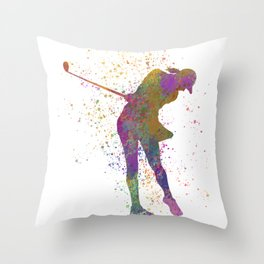 Female golf player competing in watercolor 01 Throw Pillow