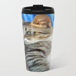 Tabby Cat Against Blue Cloth Background Travel Mug