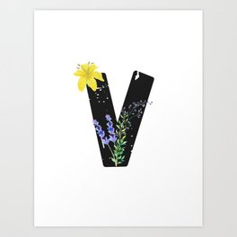 Letter V - Botanical English Alphabet, Name Initial Art Print