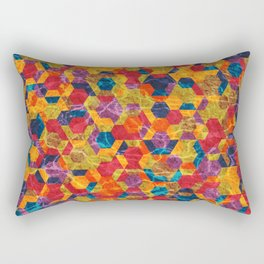 Colorful Half Hexagons Pattern Rectangular Pillow