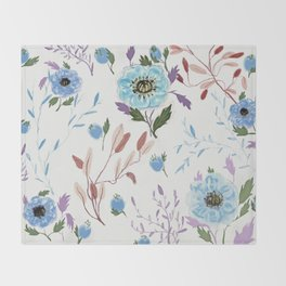 hand draw blue floral pattern Throw Blanket