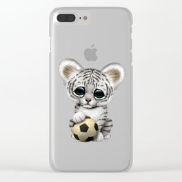 White Tiger Cub With Football Soccer Ball Clear iPhone Case