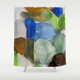 Colorful New England Beach Glass Shower Curtain