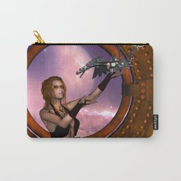 Wonderful steampunk lady with steam dragon Carry-All Pouch