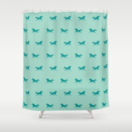 Trotting Arabian Horse Teal Green Horse Lover Shower Curtain