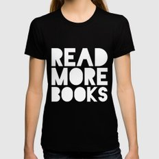 Read More Books - Black and white V1 LARGE Womens Fitted Tee Black
