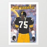 steelers Art Prints featuring Steelers - Joe Greene - 1978 (Vector Art) by Troy Arthur Graphics