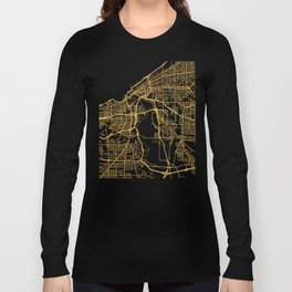 CLEVELAND OHIO CITY STREET MAP ART Long Sleeve T-shirt