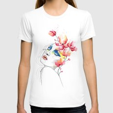 True colors MEDIUM White Womens Fitted Tee