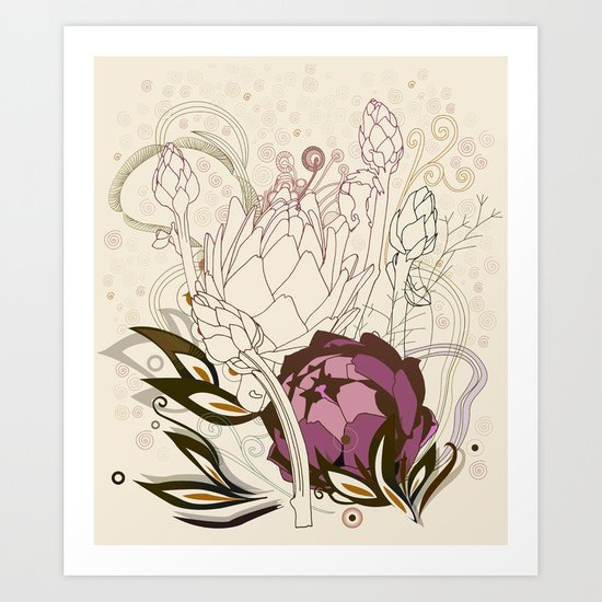 Peach and purple  artichoke Art Print