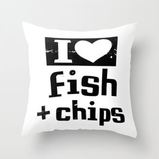 I Heart Fish and Chips - White Throw Pillow
