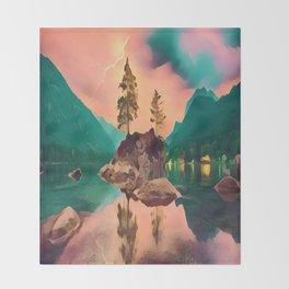 Rock Island, Lightning Background Throw Blanket