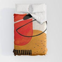 Mid Century Modern Abstract Colorful Art Yellow Ball Orange Shapes Orbit Black Pattern Comforters