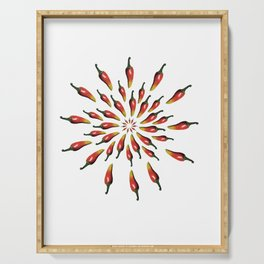 Red Peppers Mandala Art Serving Tray