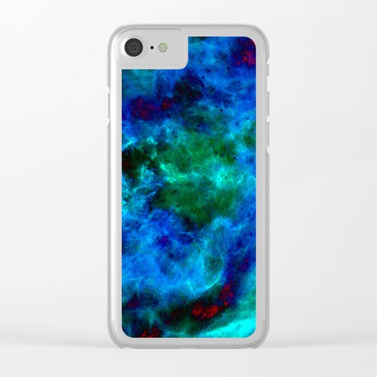 Slate Marble Clouds - Deep Sea Clear iPhone Case