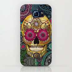 Sugar Skull Paisley Garden - Colorful Floral Sugar Skull Art Galaxy S7 Slim Case