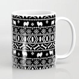 Japanese Spitz fair isle dog breed silhouette pet art pattern christmas ugly sweater Coffee Mug