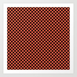 Living Color Color of the Year in Coral Orange and Black Checkerboard Art Print