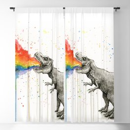 T-Rex Dinosaur Vomits Rainbow Blackout Curtain