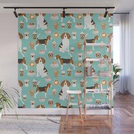 Beagle coffee print cute dog beagles coffees lattes Wall Mural