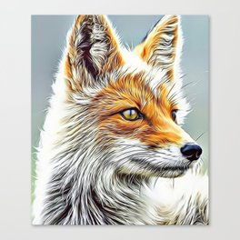 Fox Portrait Airbrush Artwork Canvas Print