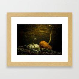 October Pumpkin, Gourd, Indian Corn Scene Framed Art Print