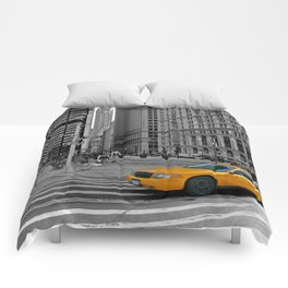 NYC - Yellow Cabs - Trinity Place Comforters