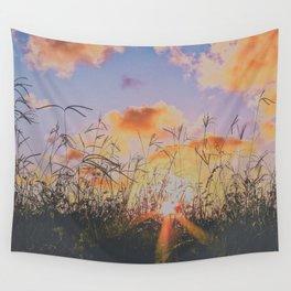sunset through tall grass Wall Tapestry
