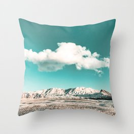 Vintage Desert Snow Cloud // Scenic Desert Landscape in Winter Fluffy Clouds Snow Mountains Cacti Throw Pillow
