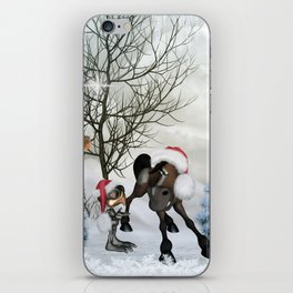 cute bird and horse with christmas hat iPhone Skin