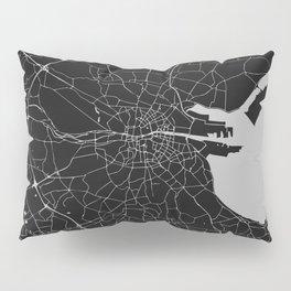 Black on Light Gray Dublin Street Map Pillow Sham