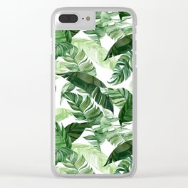 Green leaf watercolor pattern Clear iPhone Case