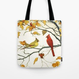 Vintage Japanese Drawing, Cardinals on an Autumn Branch Tote Bag