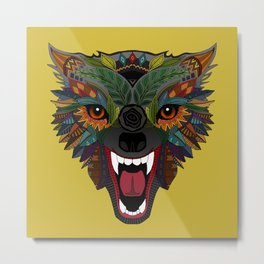 wolf fight flight ochre Metal Print