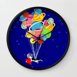 Space Cat in Love Wall Clock