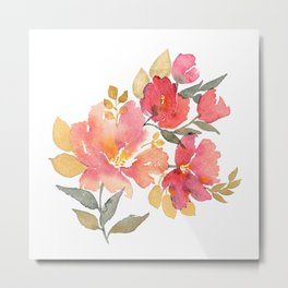 Delicate florals. Watercolor flowers. Lovely bouquet for girl. Metal Print