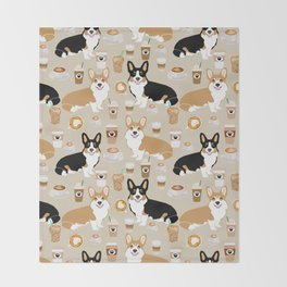 Corgi coffee welsh corgis dog breed pet lovers tan corgi crew Throw Blanket