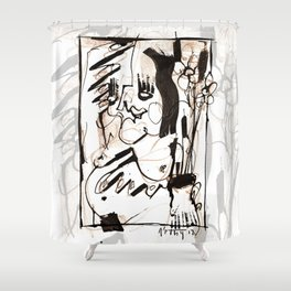 Old Flowers - b&w Shower Curtain