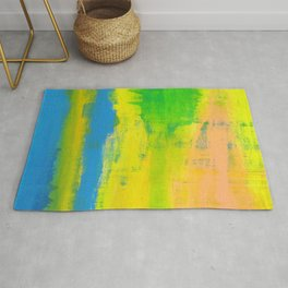 'A Sunny Day' Yellow Coral Blue Abstract Art Rug