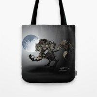 werewolf Tote Bags featuring Werewolf by Michelena