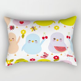 Kawaii colorful blue green orange pink yellow chick Rectangular Pillow