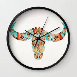 Water Buffalo Skull – Blue & Brown Wall Clock