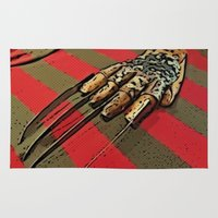 freddy krueger Area & Throw Rugs featuring Freddy Krueger by Rachel Bradford